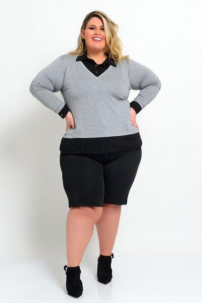 Blusa plus size bicolor cinza