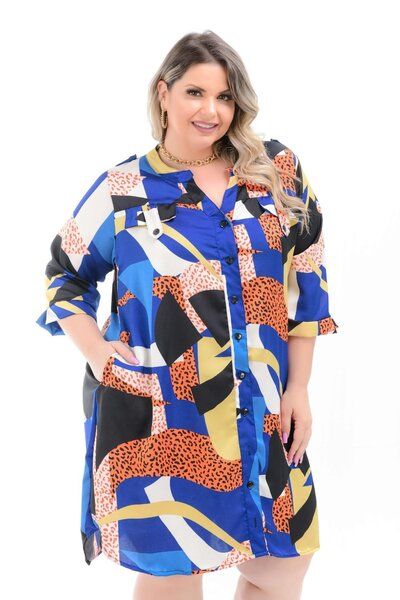 VESTIDO MIX DE ESTAMPAS MANGA 3/4 AZUL PLUS SIZE