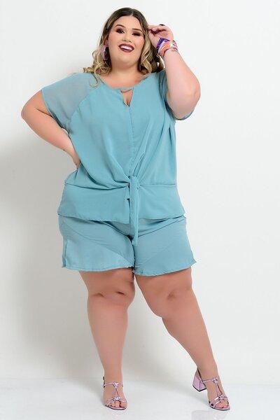 Blusa plus size social com recorte