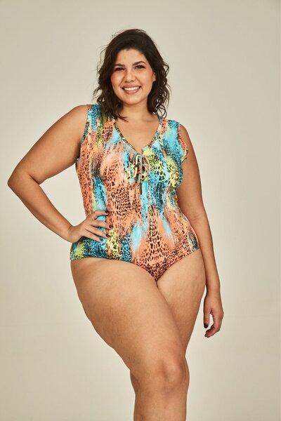 Body tropical plus size estampado
