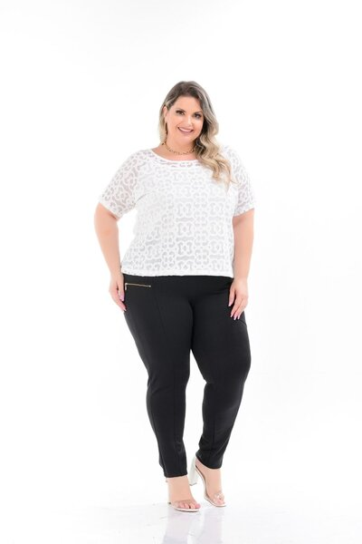 T-SHIRT PLUS SIZE RENDADA
