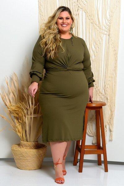 Vestido plus size mídi