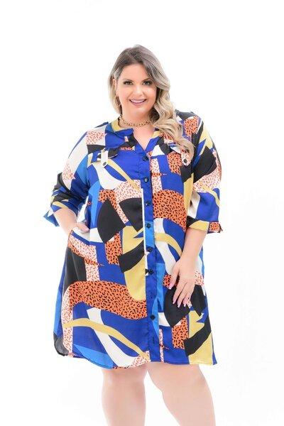 Vestido plus size mix de estampas manga 3/4 azul