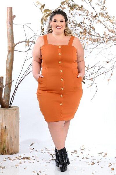 Vestido plus size sem manga