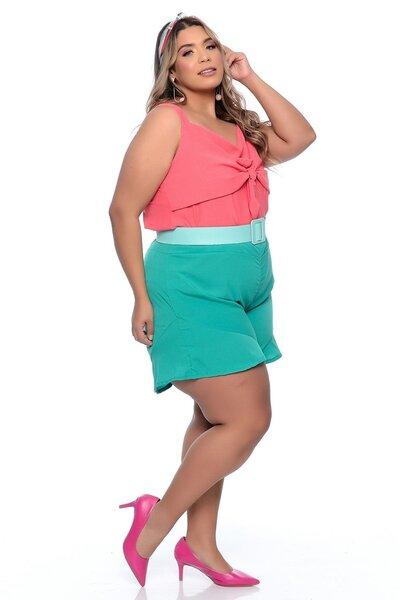 Blusa Plus Size Regata de Crepe