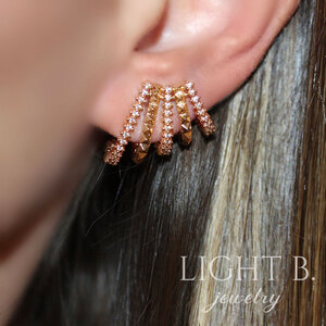 Ear Cuff Aros Spike e Zircônias Gold