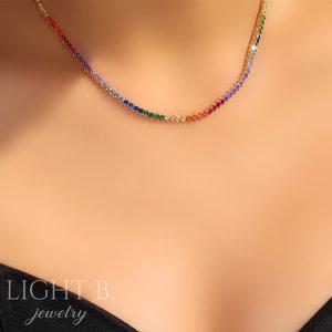 Colar Riviera Rainbow Luxo Gold