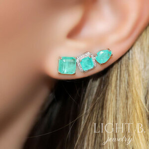 Ear Cuff Pedras Esmeralda Colombina Fusion