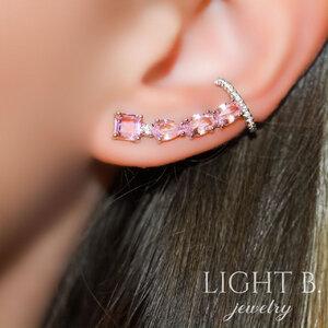 Ear Cuff Cristais Rosa