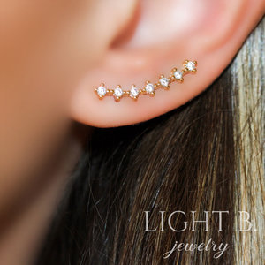Ear Cuff Line Zircônias Gold