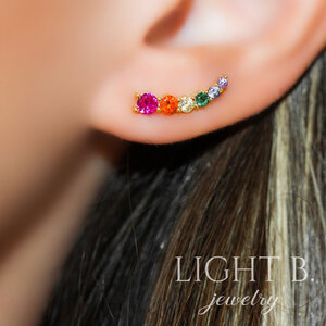 Ear Cuff Decrescente Rainbow Gold
