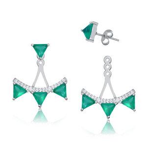Ear Jacket Triângulos Esmeralda