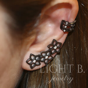 Mix Ear Cuff Flores Vazado