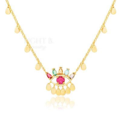 Colar Olho Pedras Colors Turmalina Pink Gold