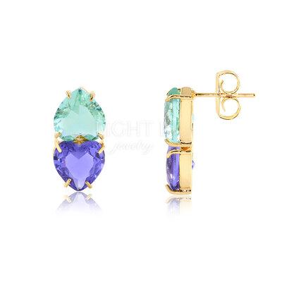 Brinco Hearts Fashion Tanzanita e Fluorita Verde Gold