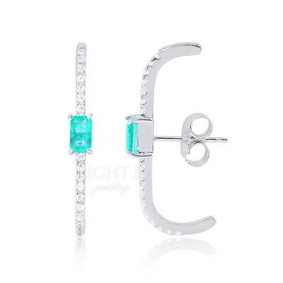 Ear Hook Retângulo Esmeralda Colombiana Fusion