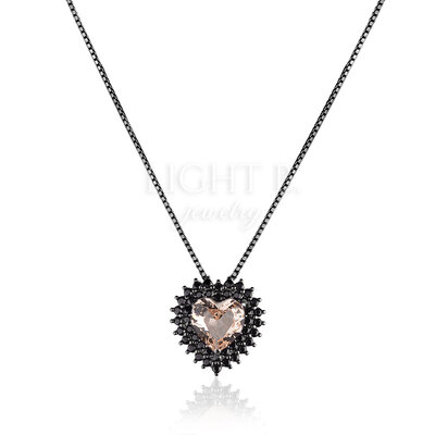 Colar Heart Dupla Cravação Morganita Negro