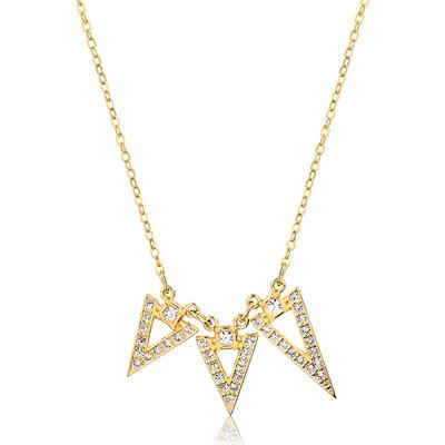 Colar Triângulos Invertidos Dourado