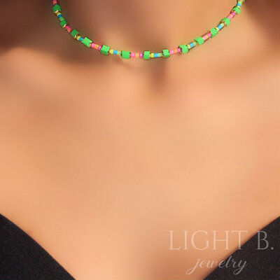 Choker Vinil Green and Colors Gold
