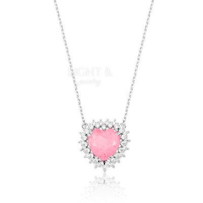 Colar Coração Cravejado Soft Pink
