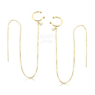 Brinco Line com Piercing Falso Gold