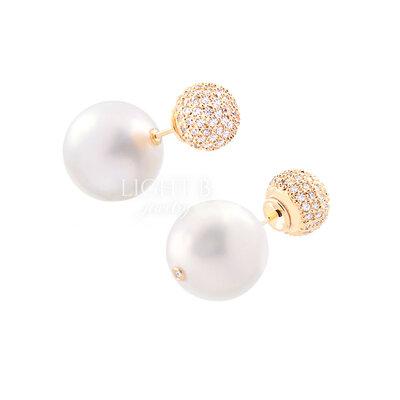 Ear Jacket Esfera e Pearl Cravejado Gold