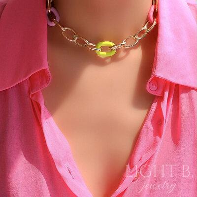 Choker Elos e Neon Colors Gold
