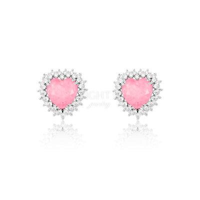 Brinco Coração Cravejado Soft Pink