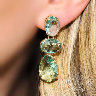 Brinco Pedras Britney Cristal Quartzo Verde