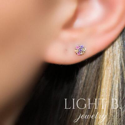 Brinco Segundo ou Terceiro Furo Mini Flower Rainbow