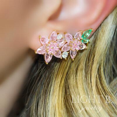 Ear Cuff Flowers Cristals