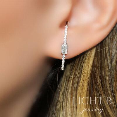 Ear Hook Retângulo Cristal