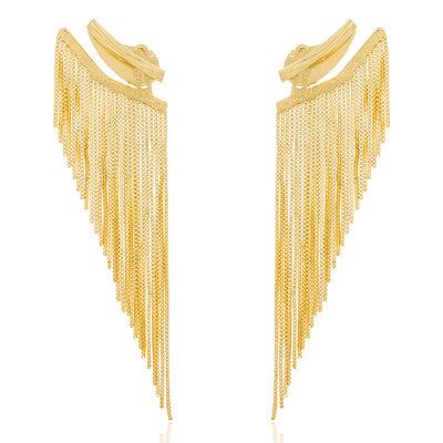Brinco Ear Cuff Luxo Franjas