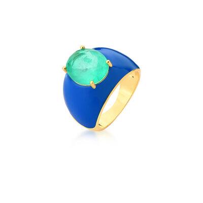Anel Esmaltado Pedra Fusion