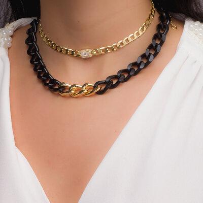 Colar Elos Duo Black & Gold
