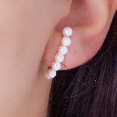 Brinco Ear Hook Filete Pérola