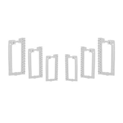 Kit Brinco Argolas Retangulares Cravejadas (cópia)