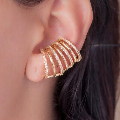 Brinco Ear Hook Filetes Intercalados Micro Cravejado