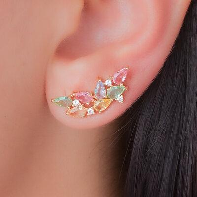 Brinco Ear Cuff Gotas Colors