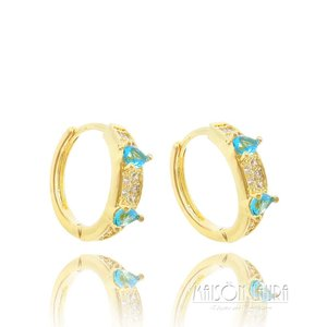 Brinco Argola Tear com Cristal Cor Topázio Azul Ouro Amarelo 18K