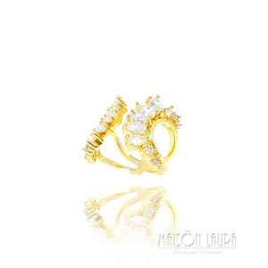 Anel Hug com Zircônias Ouro Amarelo 18K