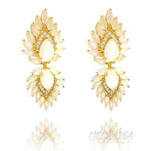 Brinco Flare com Cristal White Ouro Amarelo 18K