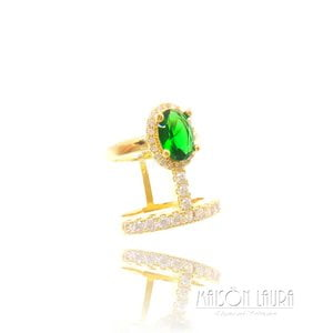 Anel Miss Duplo com Cristal cor Esmeralda Ouro Amarelo 18K