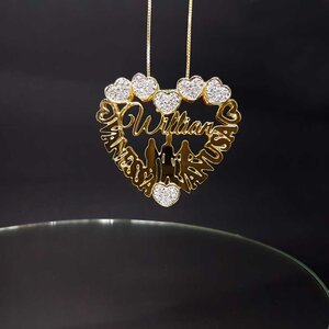 Mandala Personalizada Formato Coração Com Zircônias Cravejadas