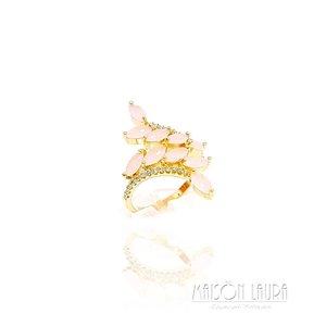Anel Cristal Rose Ouro Amarelo 18K
