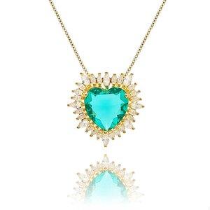 Colar Big Heart Cristal Cor Turmalina Verde em Ouro Amarelo 18K