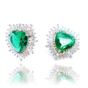 Brinco Big Heart Cristal Cor Turmalina Verde em Ouro Branco