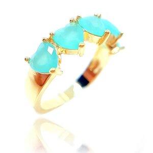 Anel Corações em Cristal Turquesa Ouro Amarelo 18K