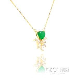 Colar Coração Quartzo Verde com Zircônias Navete Ouro Amarelo 18K