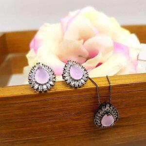 Brinco Patagônia Gota Cristal Rose Black Rhodium